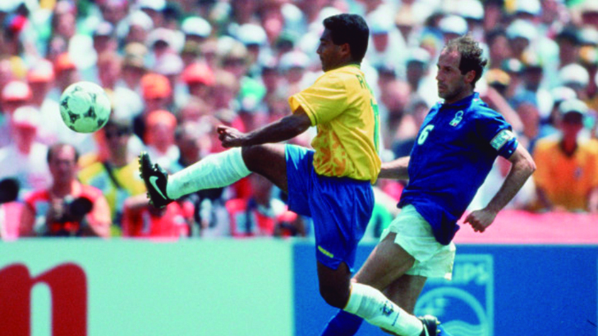 LOS ANGELES, USA - JULY 17: Romario of Brazil and Franco Baresi of Italy in action during the World Cup final match between Brazil and Italy on July 17, 1994 in Los Angeles, USA. (Photo by Lutz Bongarts/Bongarts/Getty Images) *** Local Caption *** Romario;Franco Baresi